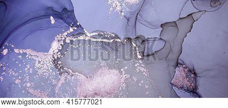 Purple Liquid Paint Waves. Luxury Metallic Alcohol Ink Wallpaper. Abstract Marble Texture. Grunge Li