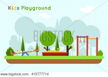 Playground Background. Play In Sandbox, Outdoor Kindergarten With Sand And Toy, Vector Illustration