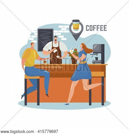 Coffee Shop, Barista Make Cartoon Beverage In Cafe Business, Vector Illustration. Man Woman Characte