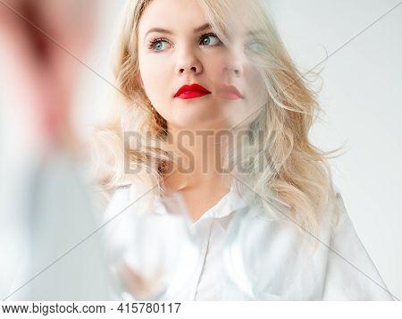 Beauty Enhancement. Skin Rejuvenation. Aesthetic Cosmetology. Art Portrait Of Pensive Blonde Woman W