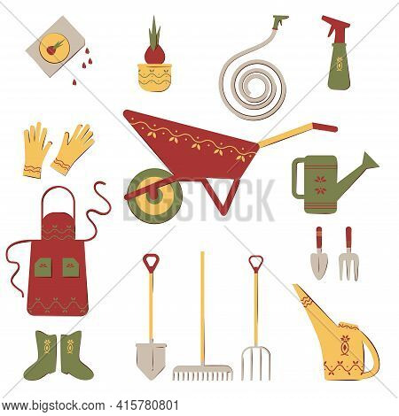 Set Of Tools For The Garden. Watering Can, Apron, Shovel, Wheelbarrow, Dig, Gloves, Boots, Rake, Wat