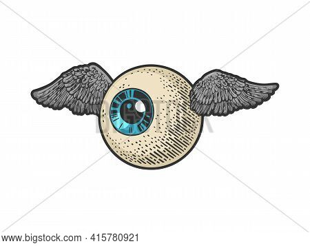 Flying Eye Eyeball Color Sketch Engraving Vector Illustration. T-shirt Apparel Print Design. Scratch