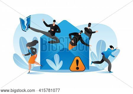 Internet Virus Technology Concept, Vector Illustration. Flat Security Protection From Hacker Email A