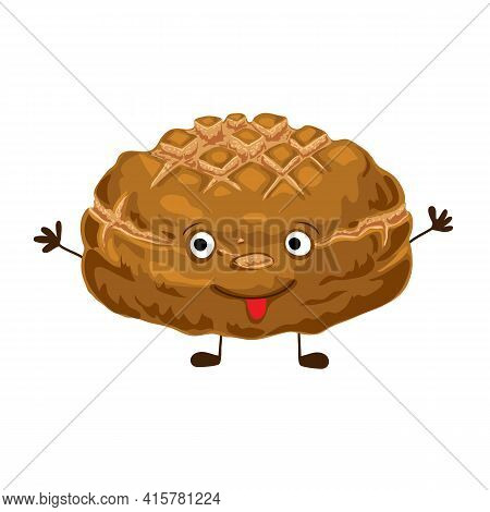 Happy Rye Bread Character Isolated On White Background. Funny And Cute Food Character Vector Illustr