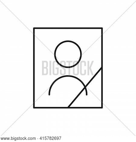 Deceased Person Portrait Line Icon. Dead Human Sign. Funeral Outline Symbol. Vector Isolated On Whit