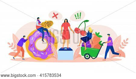 Healthy And Harmful Food Choice, Vector Illustration. Nutrition With Cartoon Fruit Diet Or Unhealthy