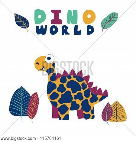 Funny Cartoon Dinosaur Print For Children Stock Vector Illustration. Hand Drawn Spotted Dino With Tr