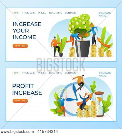 Increase Income, Profit Money At Business, Vector Illustration. Financial Investment With Success, F