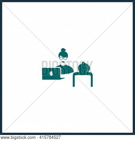 Job Interview Simple Vector Icon. Job Interview Isolated Vector Icon.