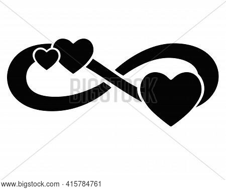 Infinity Sign With Three Hearts - Vector Silhouette Illustration For Logo Or Pictogram. Eternal Love