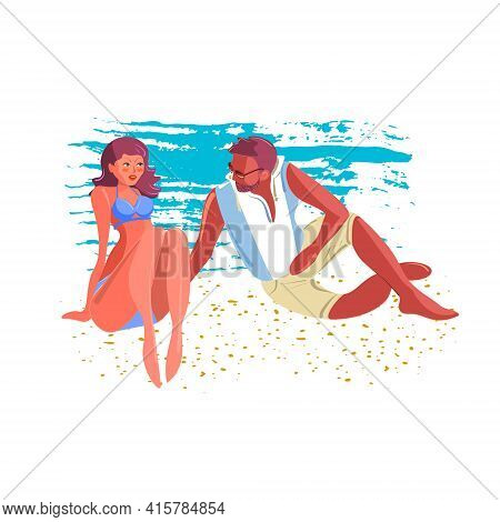 A Guy Meets A Girl On The Beach. A Young Excited Man Flirts With A Young Woman On The Beach. Vector