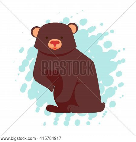 Funny Brown Cute Bear Character Standing, Cartoon Vector Illustration Isolated On White Background.