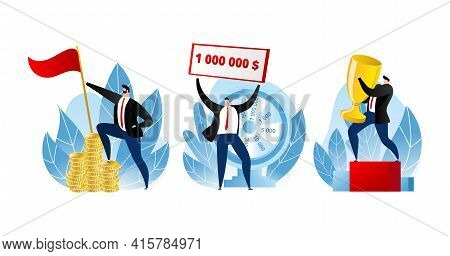Man Winner With Money, Business Trophy Vector Illustration. Successful Winner Set, Businessman Chara