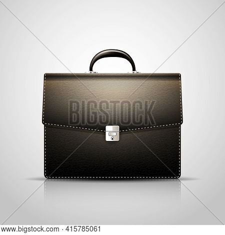 Vector Black Brief Case With Leather Texture