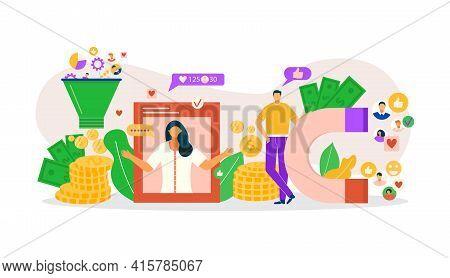 Monetize Online Blog, Internet Content Marketing Vector Illustration. Flat Monetization Business, Mo