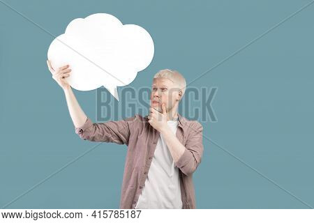 Thinking Concept. Albino Guy With Speech Bubble Deep In Thought Posing On Color Background, Space Fo