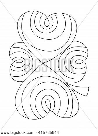 Four Leaf Clover Coloring Page For Kids Stock Vector Illustration. Funny Irish Lucky Charm Clover Le