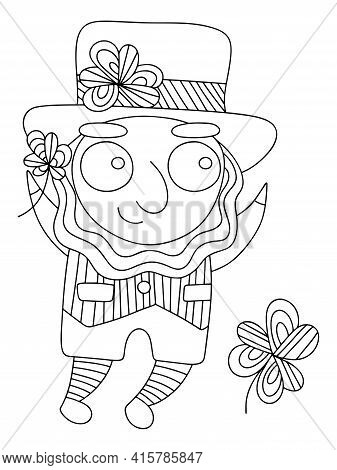 Cartoon Patrick Coloring Book Page For Kids And Adults Vector. Detailed Hand Drawn Celtic Folklore C
