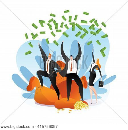 Money Winner, Business Person Success, Vector Illustration. Cartoon Happy Man Woman Character With C