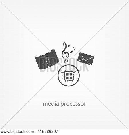 Media Processor Simple Vector Icon. Processor Cpu Isolated Icon.