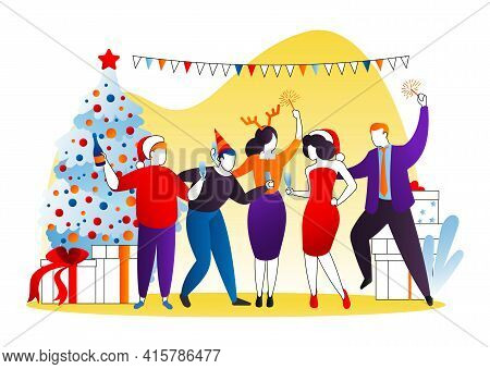 Christmas Party, Vector Illustration. Happy Cartoon People Man Woman Character At Holiday Corporate