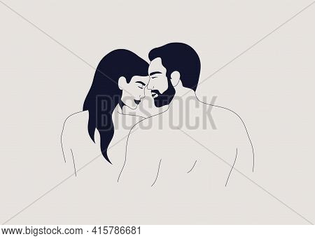 Young Couple In Love. Muscular Man And Woman Cuddling Each Other Back View. Husband Hugs His Wife An