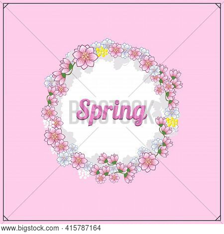Spring Greeting Card And Design Elements. Spring Sale Logos. Lettering Spring Season With Beautuful