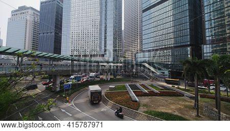 Central, Hong Kong 27 January 2021: Business district in Hong Kong