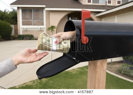 Mailbox Handing Over Money