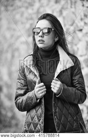 Fashion Outfit. Windy Day. Feel Authentic. Girl Short Jacket Urban Style. Female Psychology. Woman F