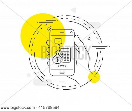Calculator With Money Bag Line Icon. Mobile Phone Vector Button. Accounting Sign. Calculate Finance