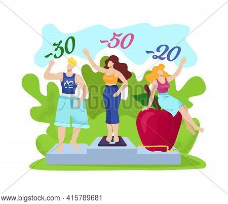 Weight Loss, Fat People After Diet, Vector Illustration. Slim Man Woman Character At Piedestal, Fitn
