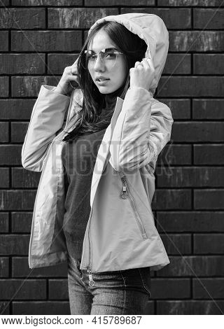 Girl Short Jacket Urban Style. Feel Authentic. Female Psychology. Woman Fashion Model Outdoors. Woma