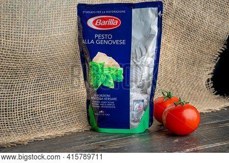 Russia, Kazan, 06 April 2021: Barilla Product. Pesto Alla Genovese Sauce