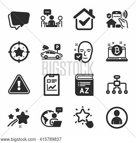 Set Of Business Icons, Such As Vocabulary, People Chatting, Ranking Star Symbols. Report Document, F