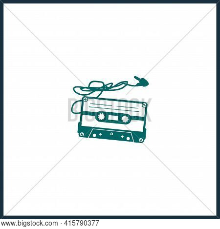 Audio Cassette Tape Simple Vector Icon. Audio Cassette Tape Isolated Icon.