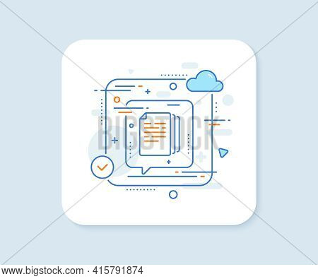 Copy Documents Line Icon. Abstract Vector Button. Doc File Duplicates Sign. Office Note Symbol. Copy