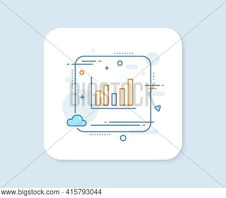 Column Chart Line Icon. Abstract Square Vector Button. Financial Graph Sign. Stock Exchange Symbol.