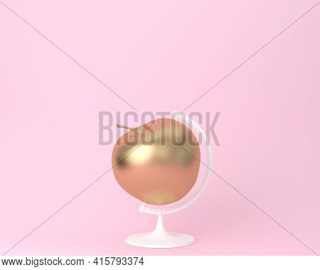 Globe Sphere Orb Apple Gold On Pastel Pink Background. Minimal Idea Food And Fruit Concept. An Idea