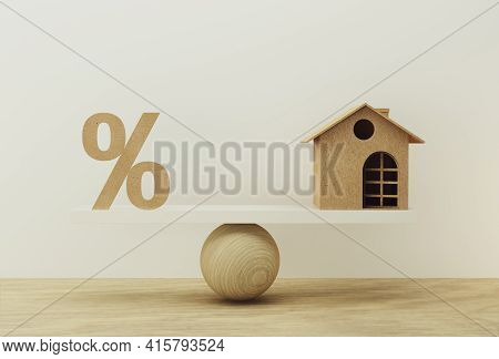 Percentage Symbol Icon And House Scale In Equal Position. Financial Management Concept : Depicts Sho