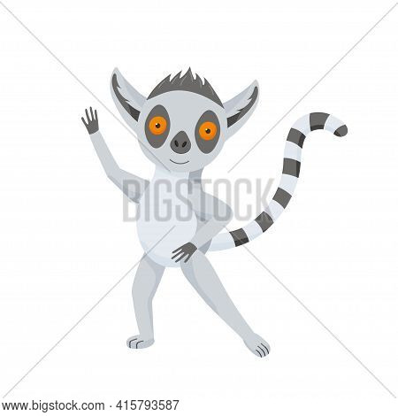 Funny Gray Lemur Dance And Waving. The Fluffy Striped Tail Curves. Cute Baby Animal In Cartoon Style