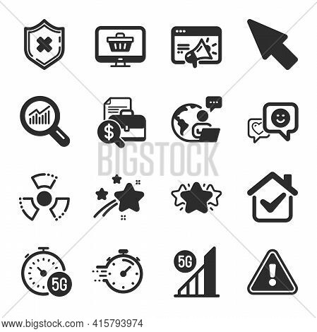 Set Of Technology Icons, Such As Seo Marketing, Data Analysis, Reject Protection Symbols. Mouse Curs