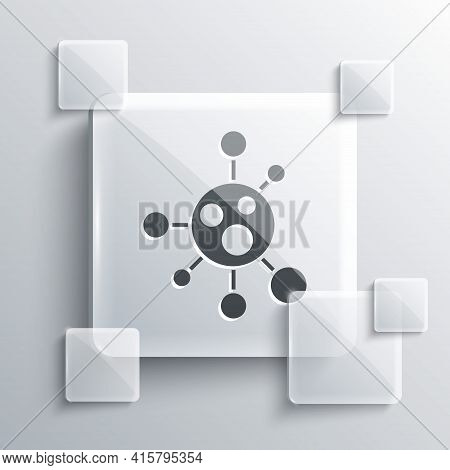 Grey Molecule Icon Isolated On Grey Background. Structure Of Molecules In Chemistry, Science Teacher