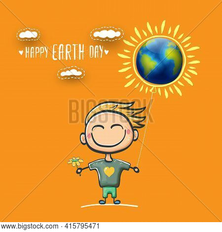 Cartoon Earth Day Illustration Or Banner With Little Cute Boy Character Holding In Hands Baloon With