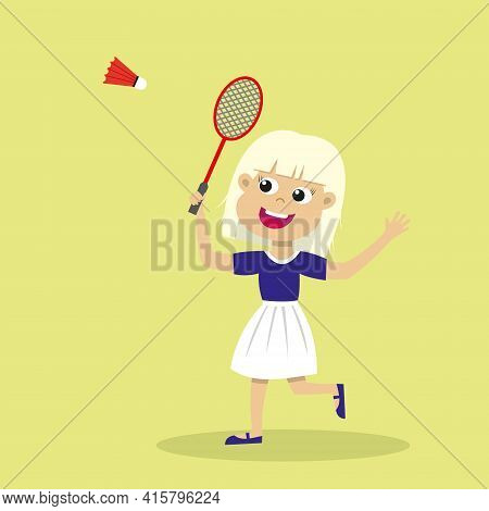 Cute Blond Girl Playing Badminton. Smiling Kid With Badminton Racket And Shuttlecock. Happy Child Pr