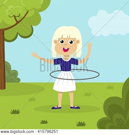 Cute Smiling Blond Girl Playing With Hula Hoop In The Park. Happy Hula Hooping Kid Outside. Child En