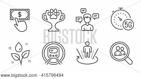 Conversation Messages, Metro Subway And Search Employees Line Icons Set. Plants Watering, 5g Interne