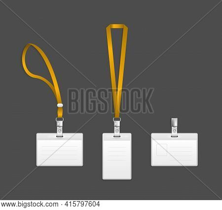 Lanyard, Name Tag Holder End Badge Templates Vector Illustration