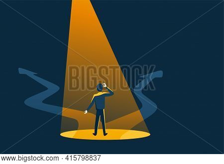Crossroads And Highlighted Man In Abstract Art Style, Before Important Choice - Correct Decision Cho