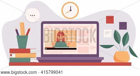Online Courses Concept With Mentor On Laptop Screen. Educational Video Blog. Online Education Or Hom